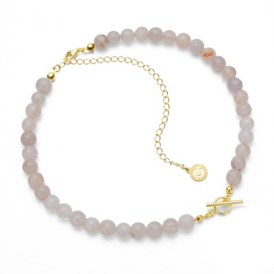 Choker with white natural stones agate, charms base, Silver 925