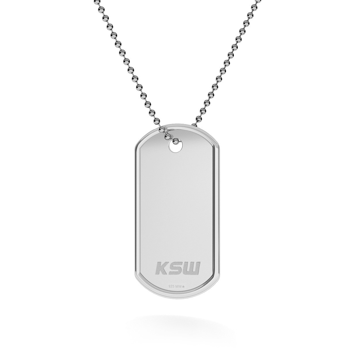 Srebrny nieśmiertelnik naszyjnik z logo KSW, łańcuch kulkowy, srebro 925