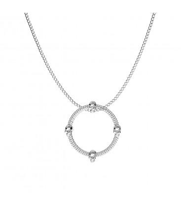 Circulo de calavera collar plata 925