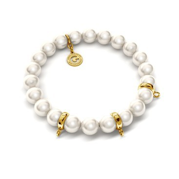Flexible bracelet with pearls (Swarovski pearl) for 3 charms