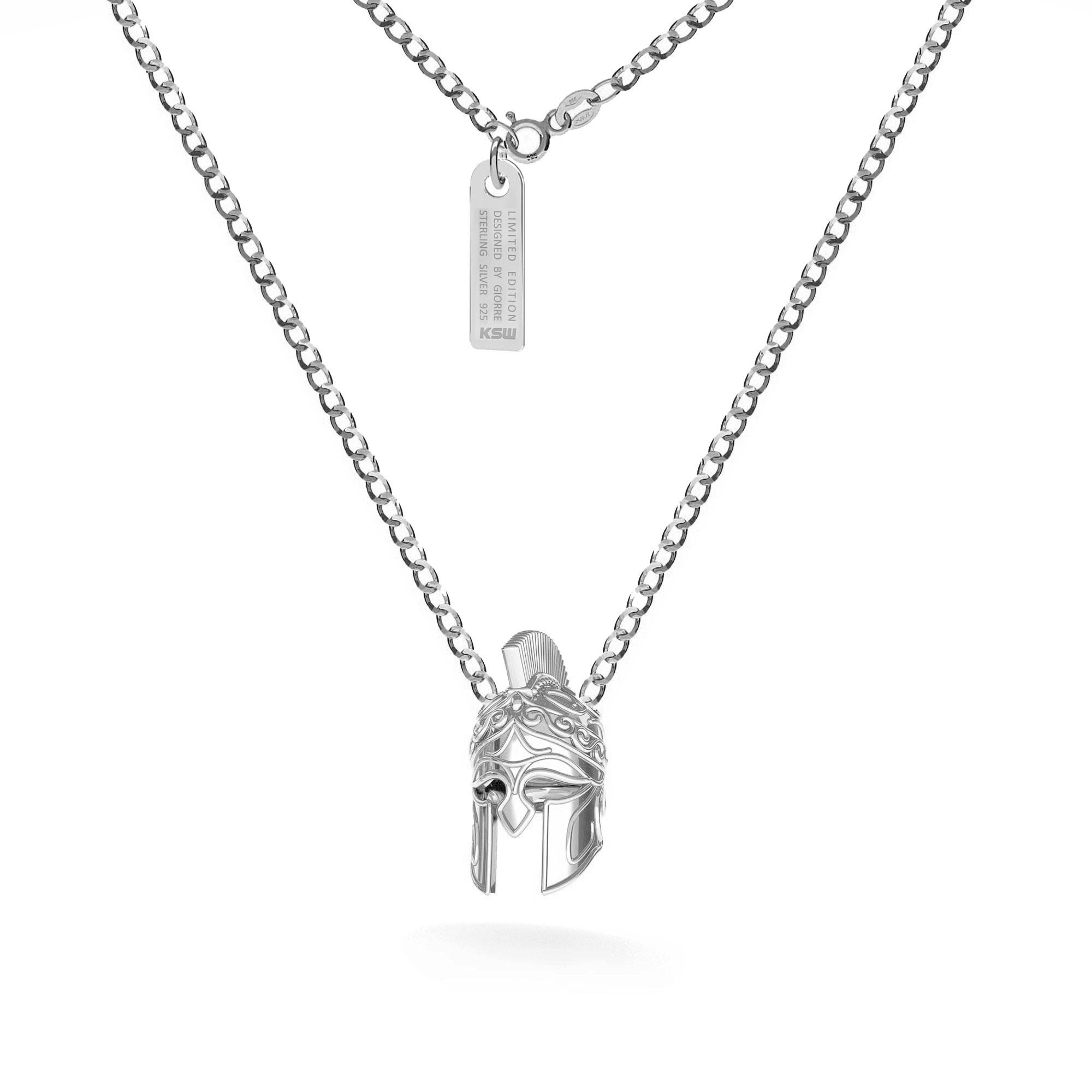 Naszyjnik hełm spartański, łańcuch pancerka, srebro 925