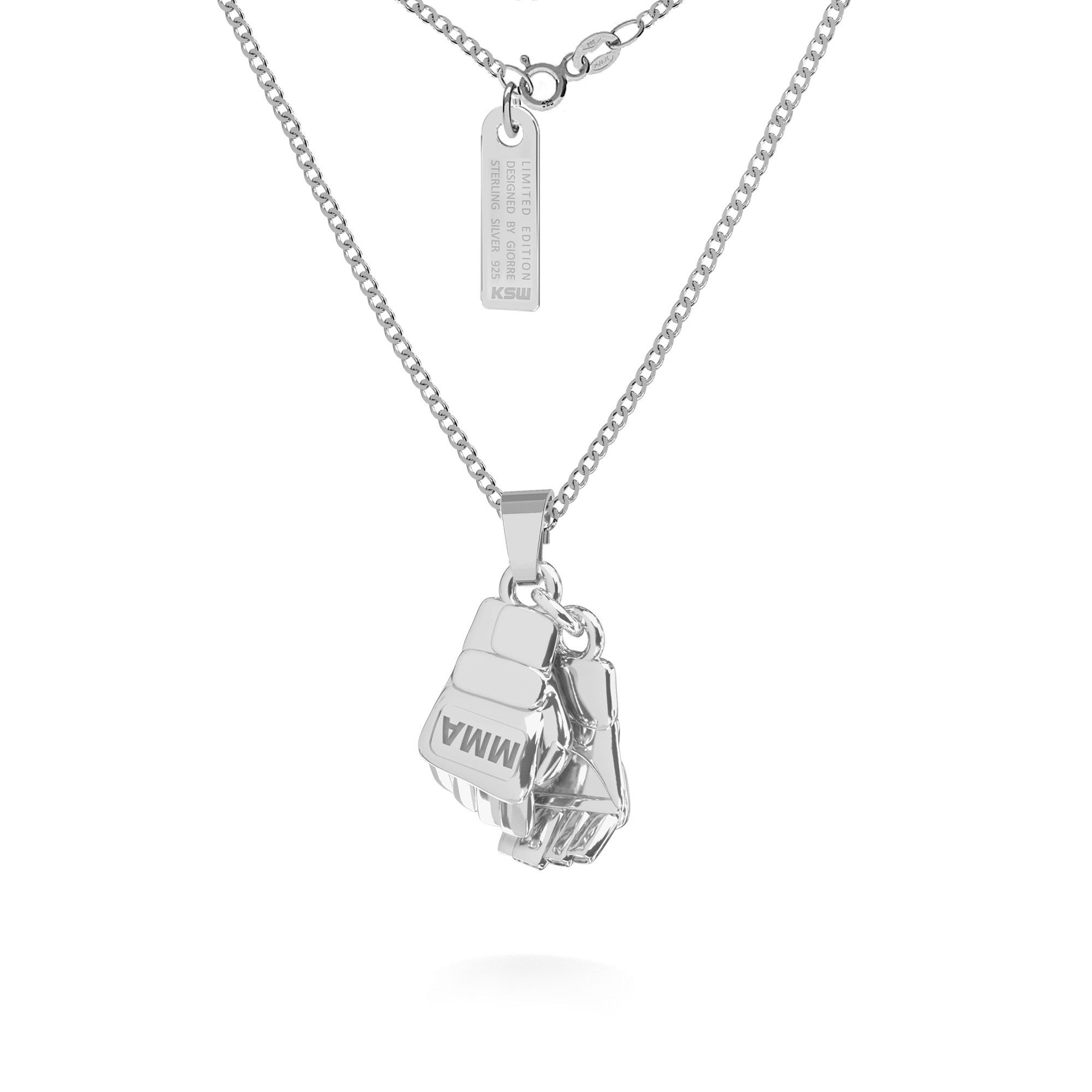 Boxing gloves necklace MMA, curb chain, silver 925