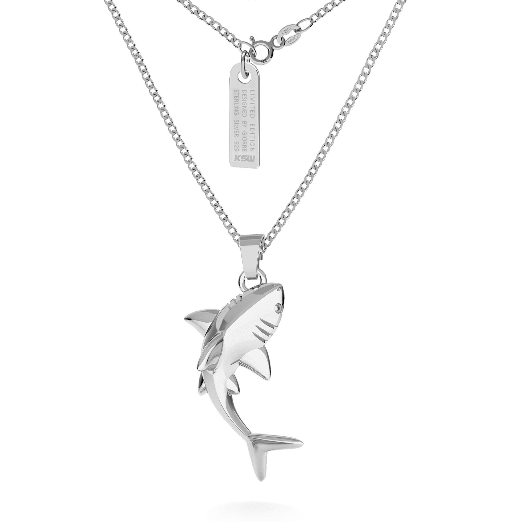 Shark necklace, curb chain, silver 925