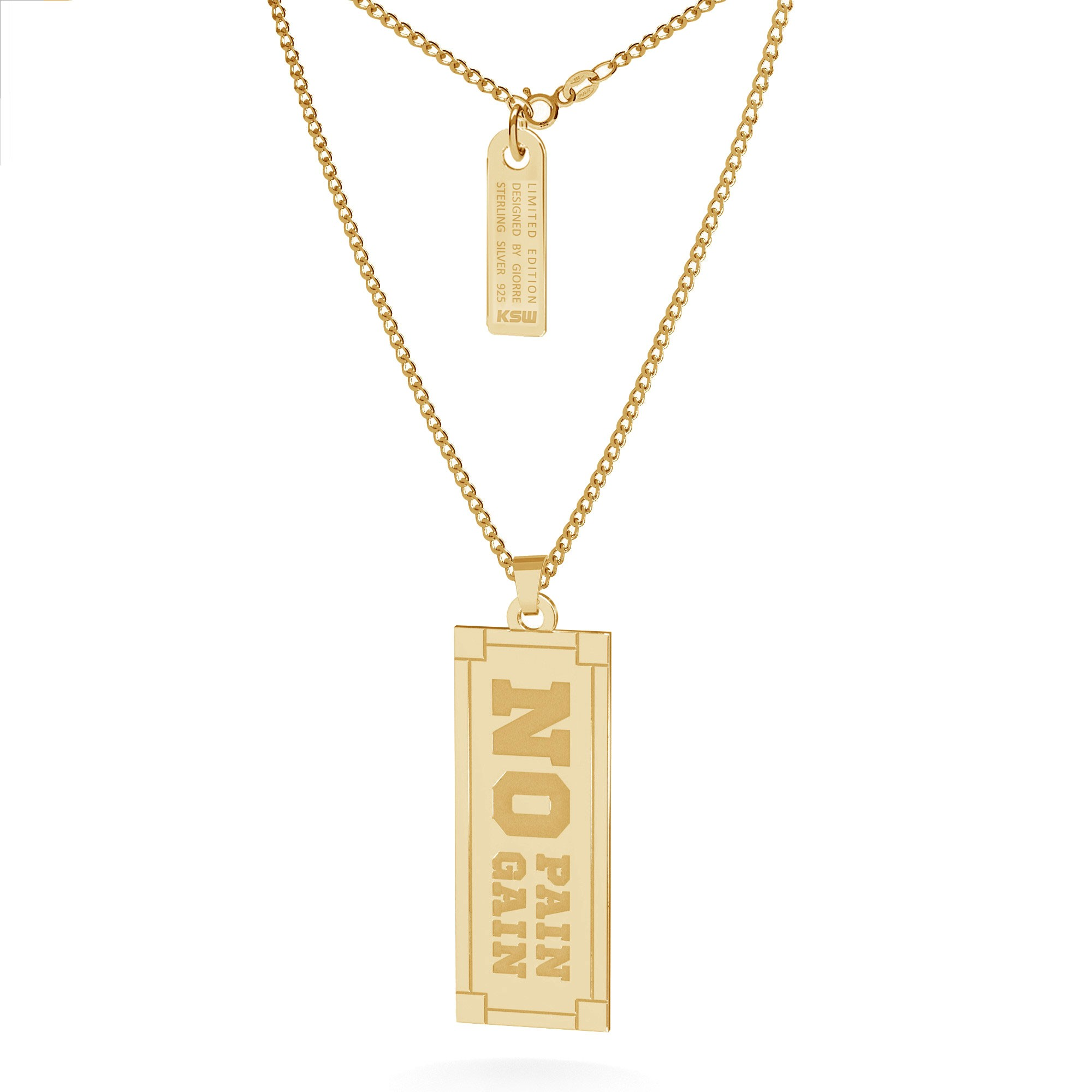 Silver necklace No pain no gain sign, curb chain