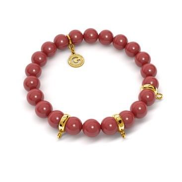 Pulsera elástica de perlas (swarovski pearl) sobre 3 charms