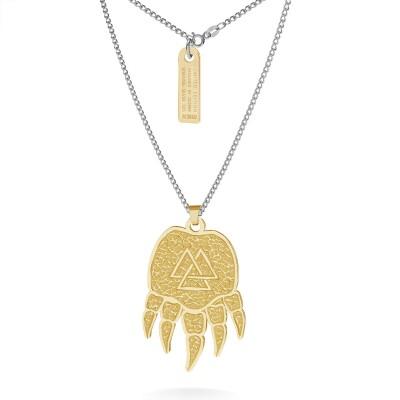 Srebrny naszyjnik łapa, wzór celtycki, łańcuch pancerka, srebro 925