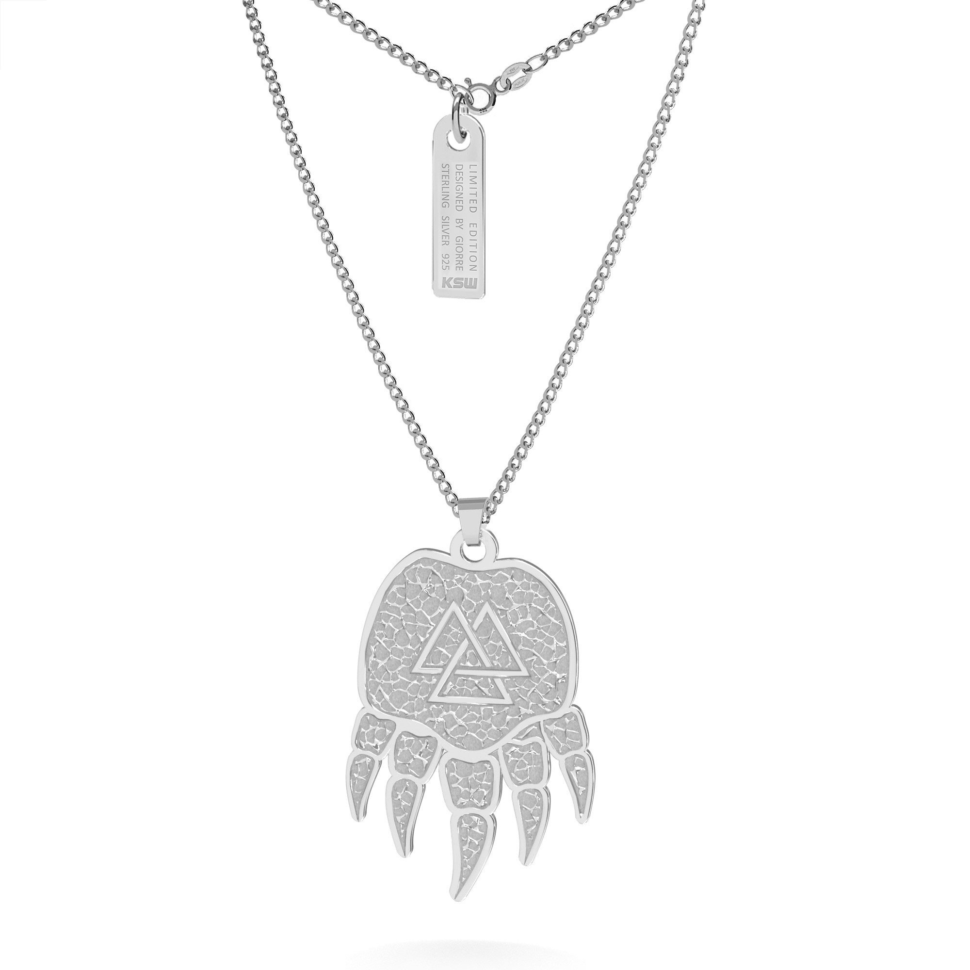 Silver paw necklace with celtic pattern, curb chain
