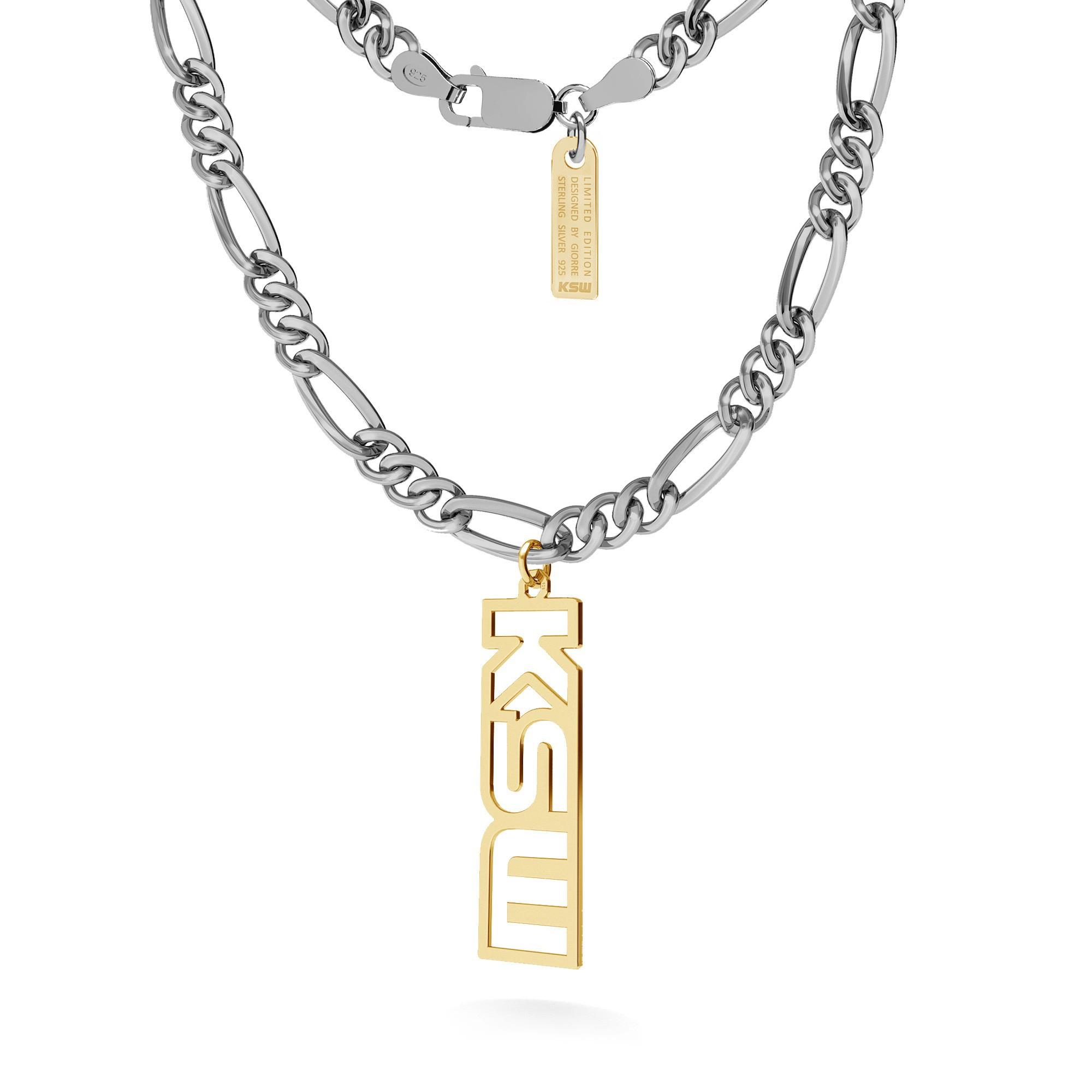 Naszyjnik z zawieszką KSW, łańcuch figaro dmuchane, srebro 925