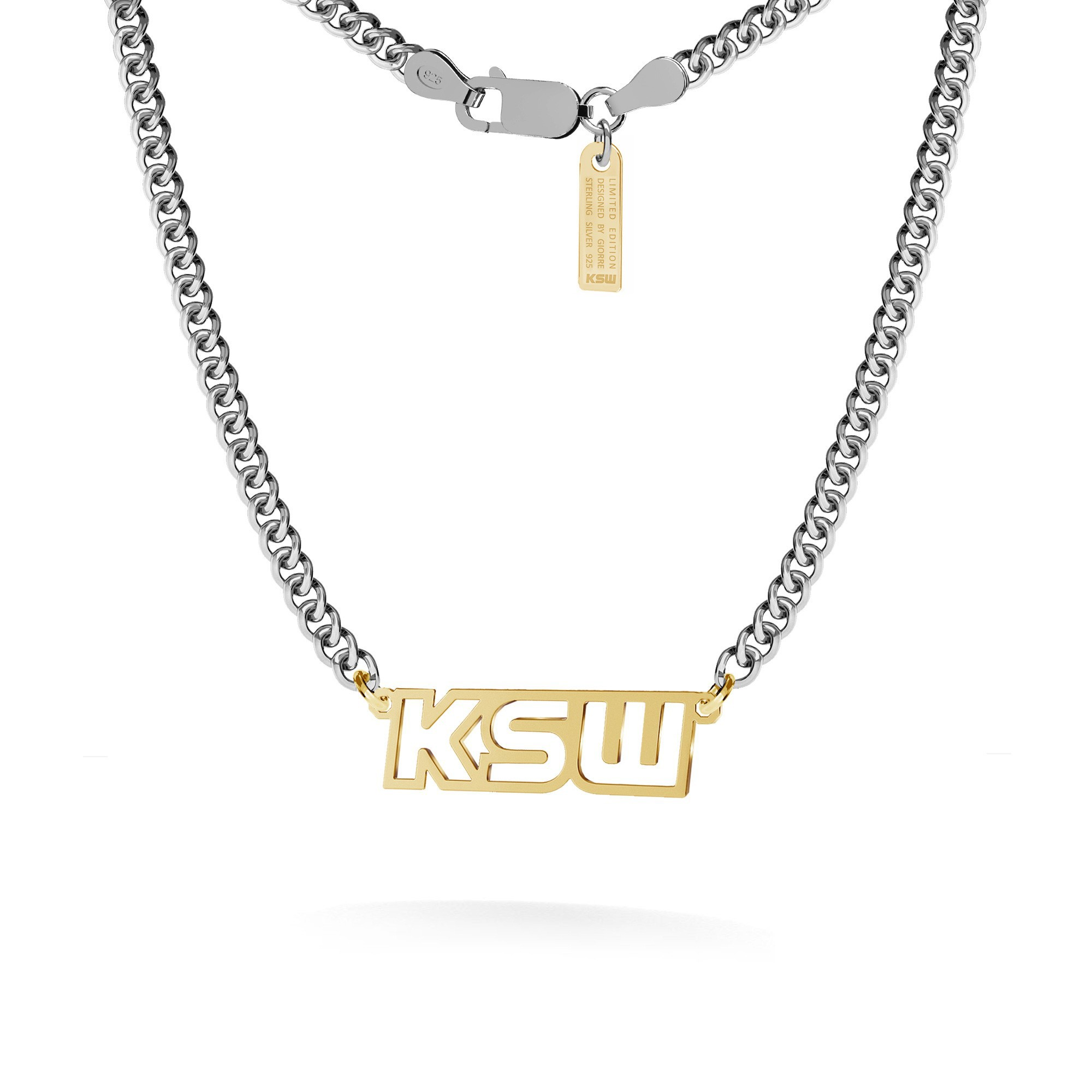 Logo necklace with KSW sign, curb chain, silver 925