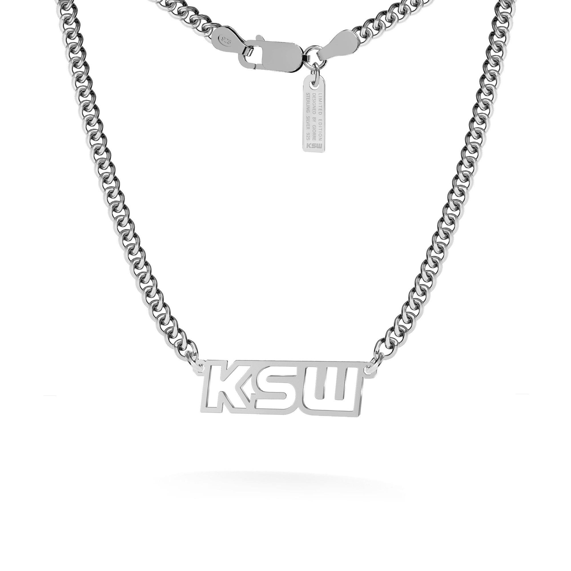Naszyjnik z napisem KSW, łańcuch dmuchana pancerka, srebro 925