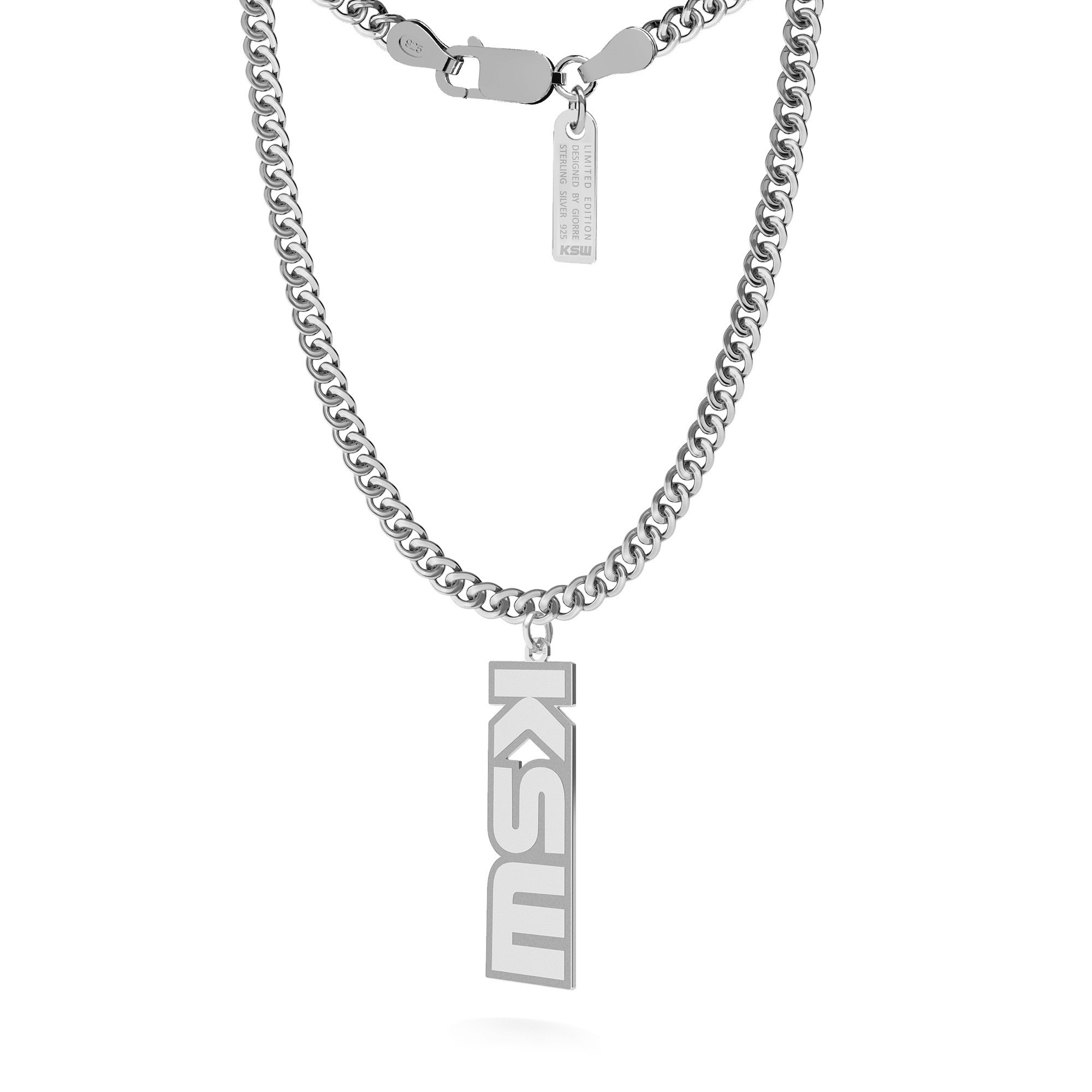 Silver verticale plate necklace, KSW sign, curb chain, silver 925