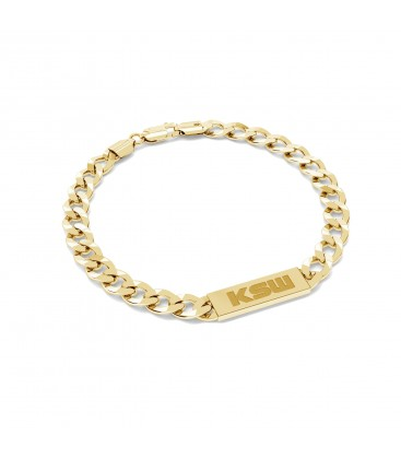 Curb chain plate bracelet with KSW logo, silver 925