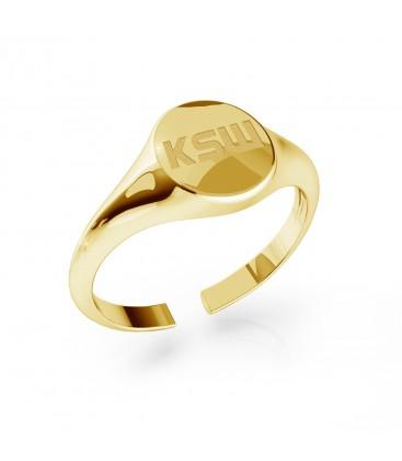 Adjustable KSW logo signet ring, silver 925