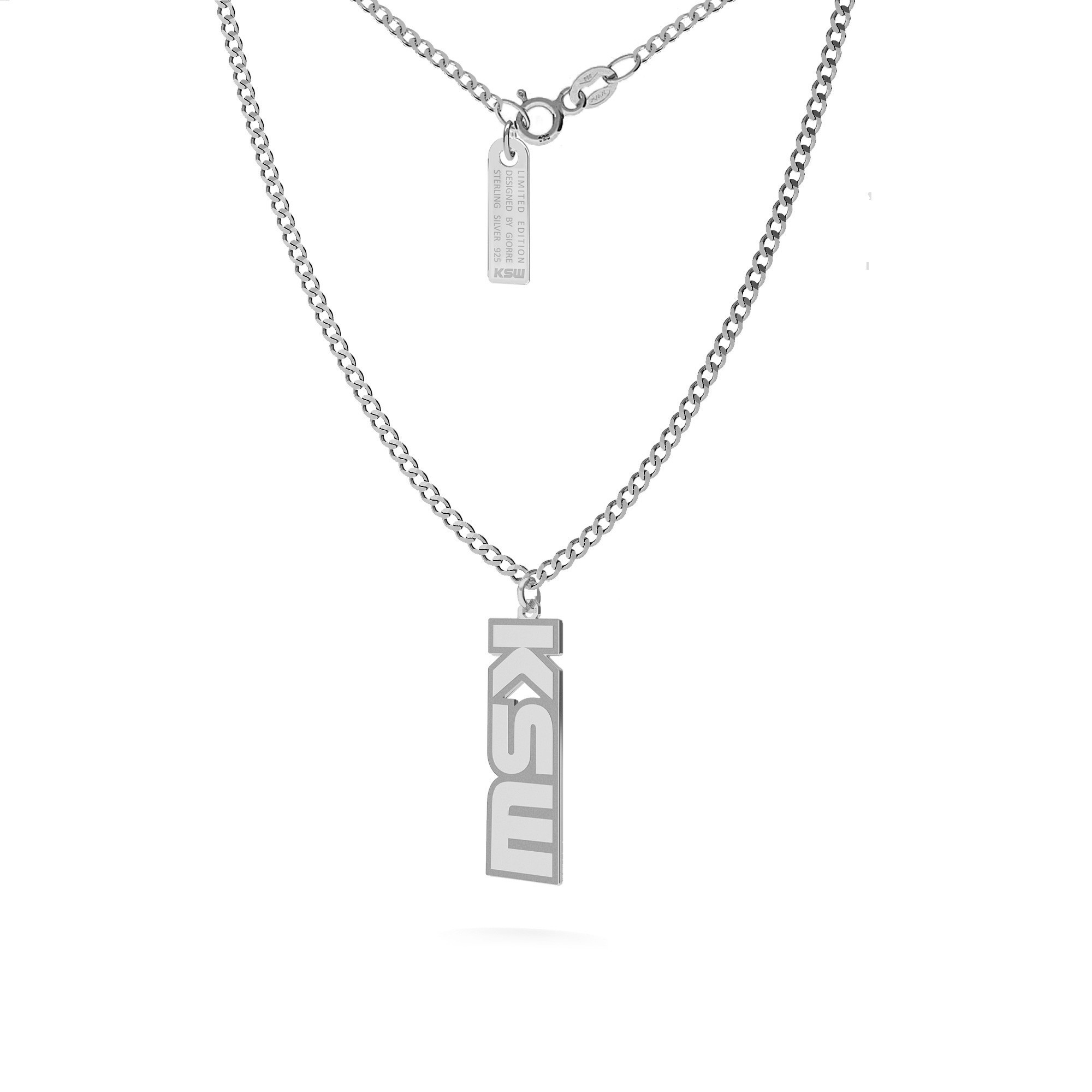 Curb chain necklace with KSW pendant, silver 925