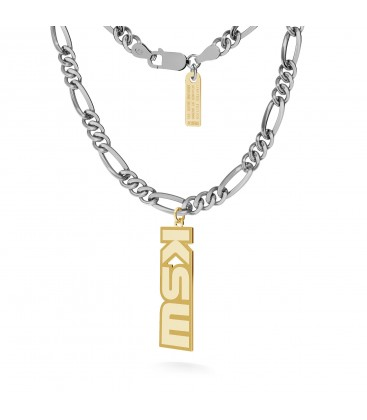 Necklace with KSW pendant, figaro chain, silver 925