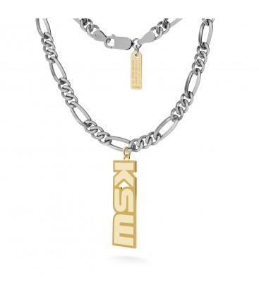 Srebrny naszyjnik z logo KSW, łańcuch figaro dmuchane, srebro 925