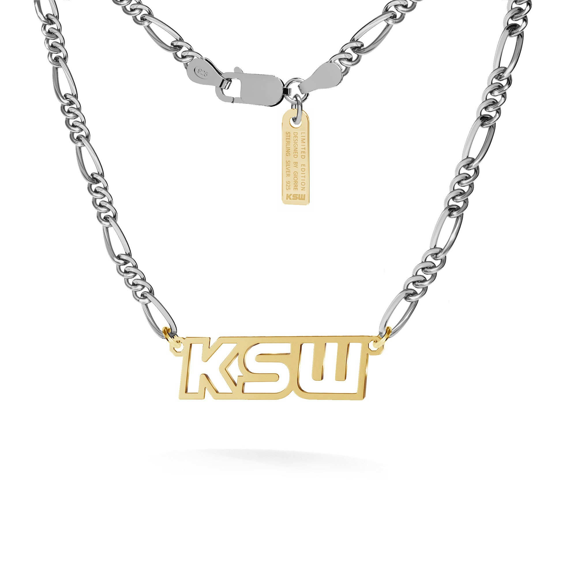 Necklace with inscription, KSW logo, figaro chain, silver 925