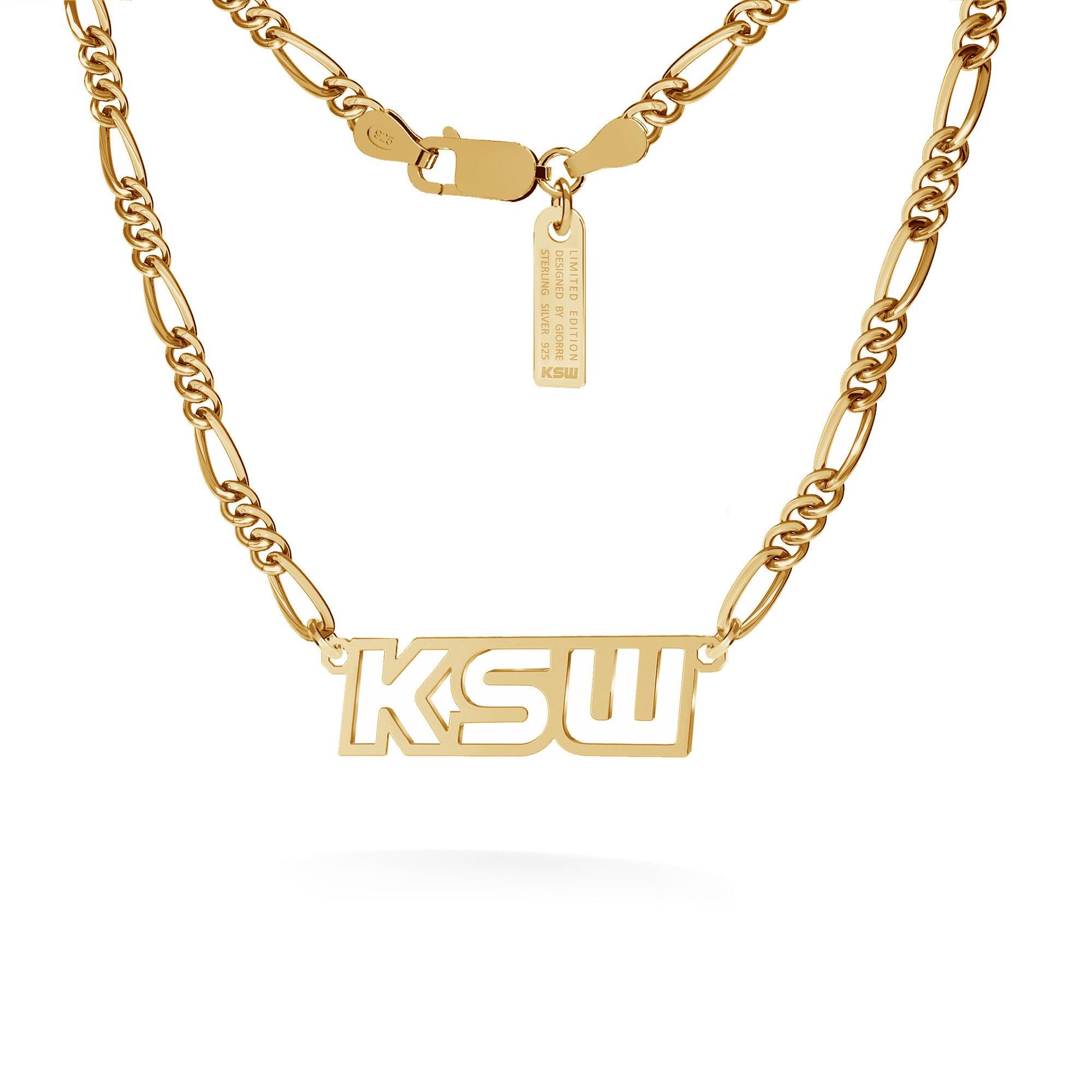 Naszyjnik z napisem, logo KSW, figaro dmuchane, srebro 925
