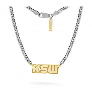 Naszyjnik z poziomą blaszką, logo KSW, pancerka, srebro 925