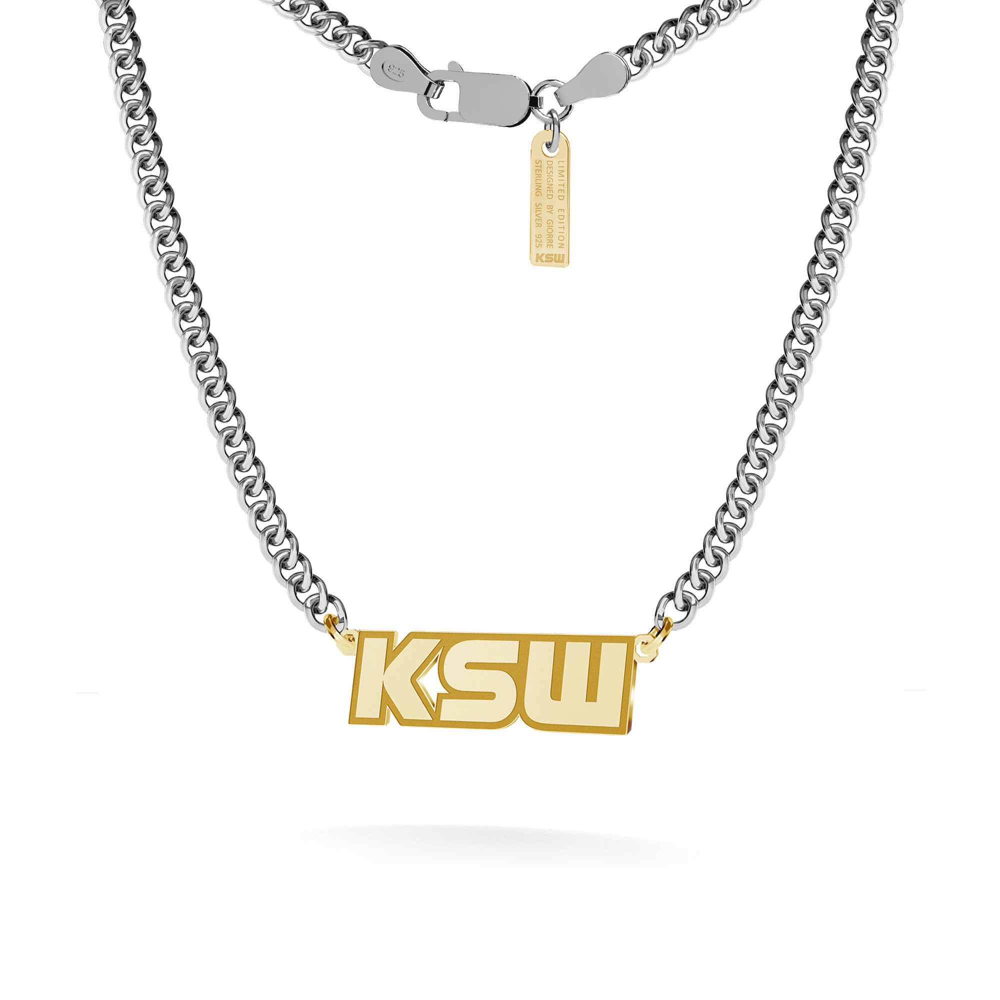Silver necklace with KSW pendant, curb chain, silver 925