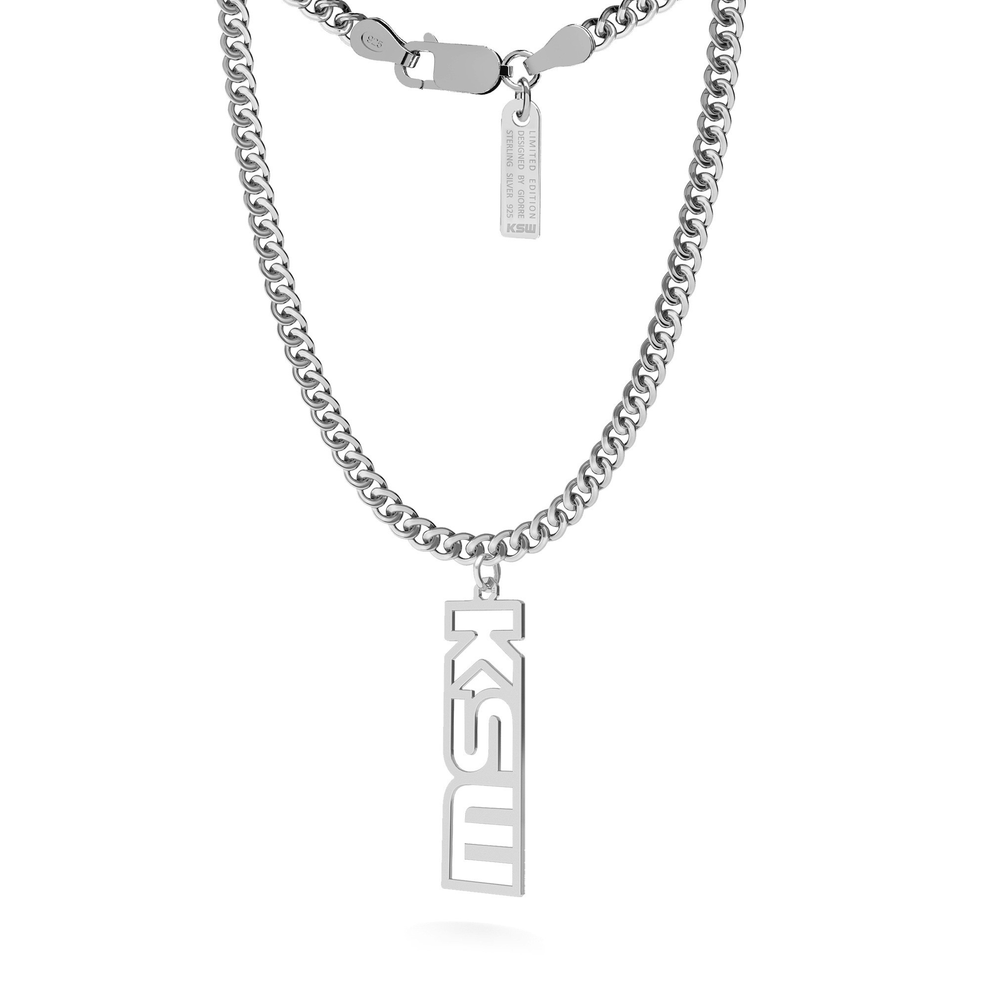 Srebrny naszyjnik z pionową zawieszką, logo KSW, pancerka, srebro 925