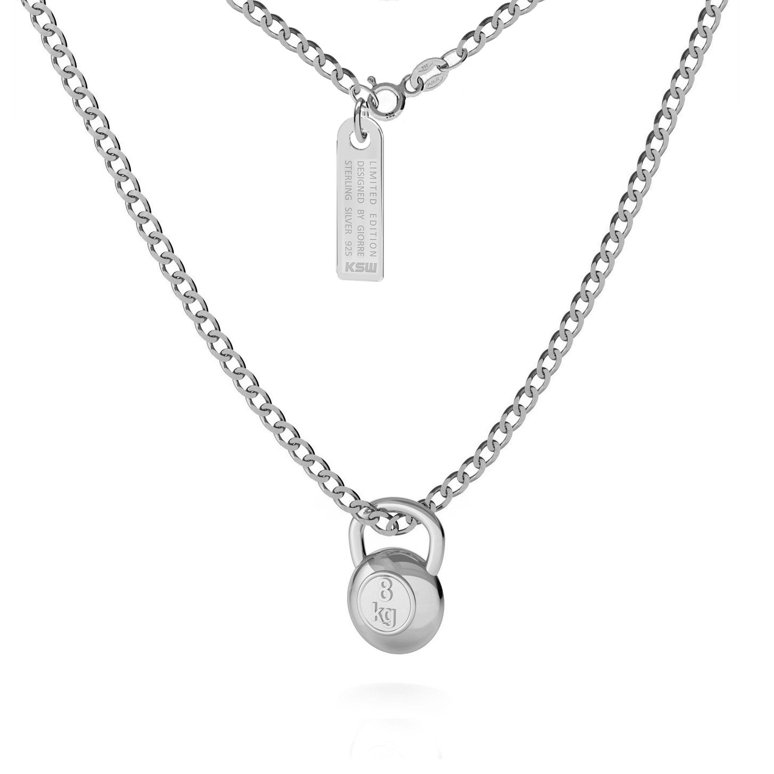 Naszyjnik z zawieszką ciężarek kettlebell, pancerka, srebro 925