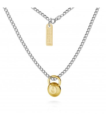 Necklace with kettlebell pendant, curb chain, silver 925