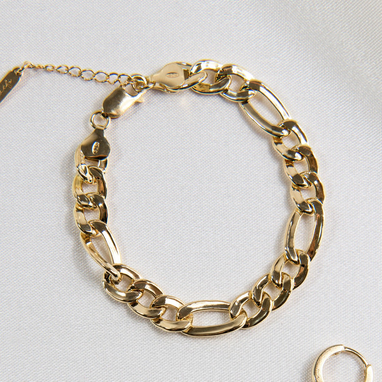 Figaro chain bracelet with pearls MON DÉFI, Silver 925