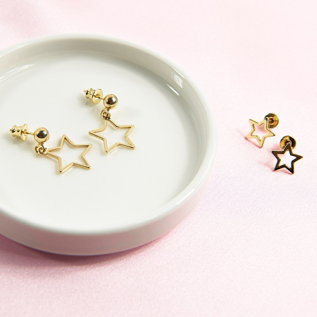 Silver openwork star drop earrings MON DÉFI, silver 925