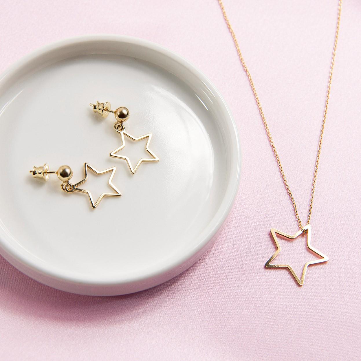 Kolczyki wiszące ażurowe gwiazdki MON DÉFI, srebro 925