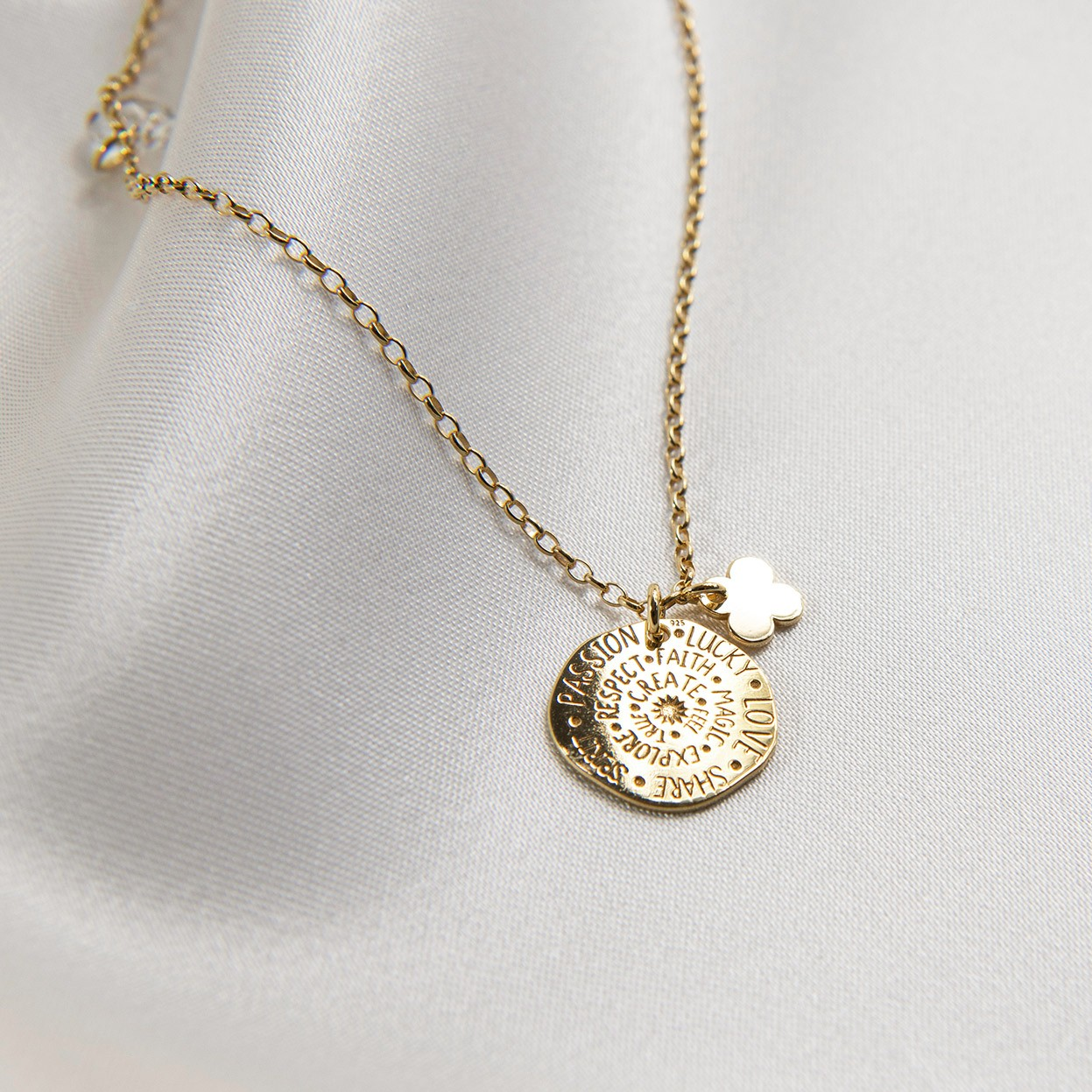 Silver star necklace with sun pendant, Swarovski crytal, MON DÉFI, silver 925