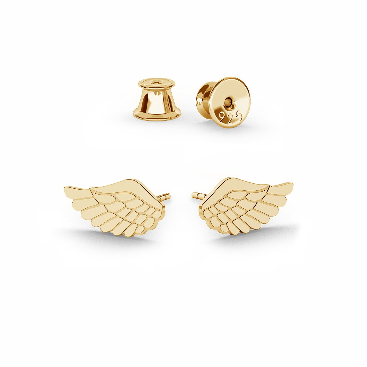 Srebrne kolczyki małe skrzydła anioła, srebro 925