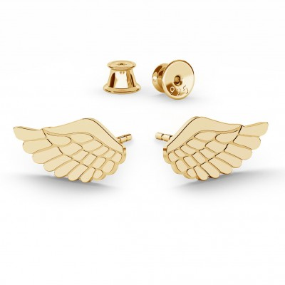 EARRINGS ANGEL WINGS, STERLING SILVER (925) RHODIUM OR GOLD PLATED