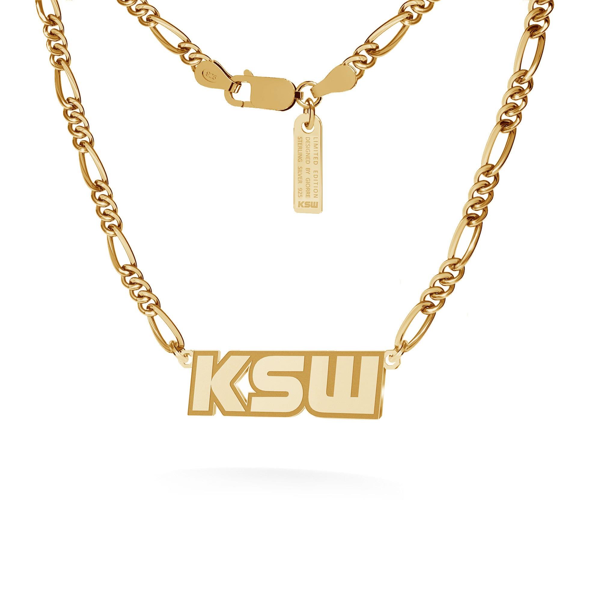 Srebrny naszyjnik z blaszką, logo KSW, łańcuch figaro dmuchane, srebro 925
