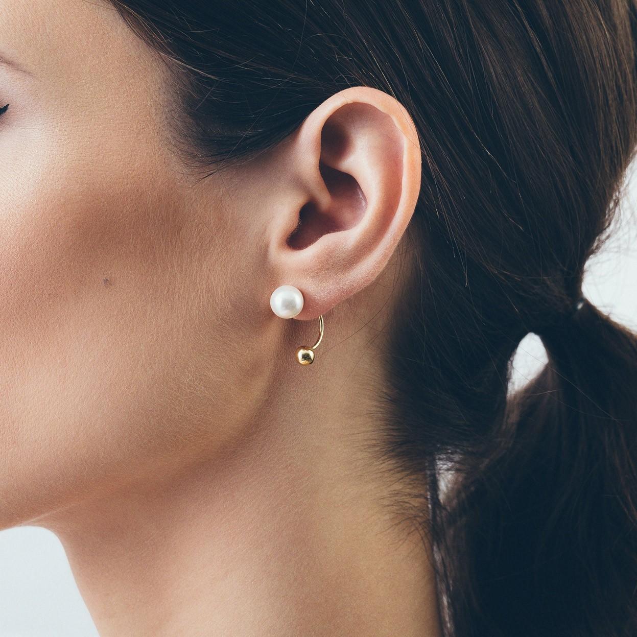 Srebrne kolczyki za ucho kulka i perła Swarovskiego 925