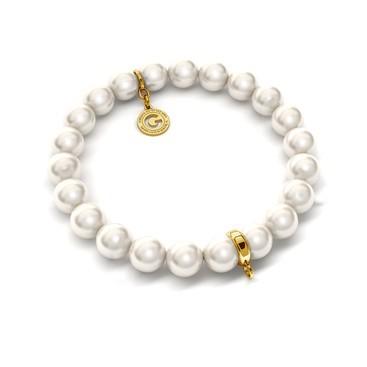 Pulsera elástica de perlas (swarovski pearl) sobre 1 charm