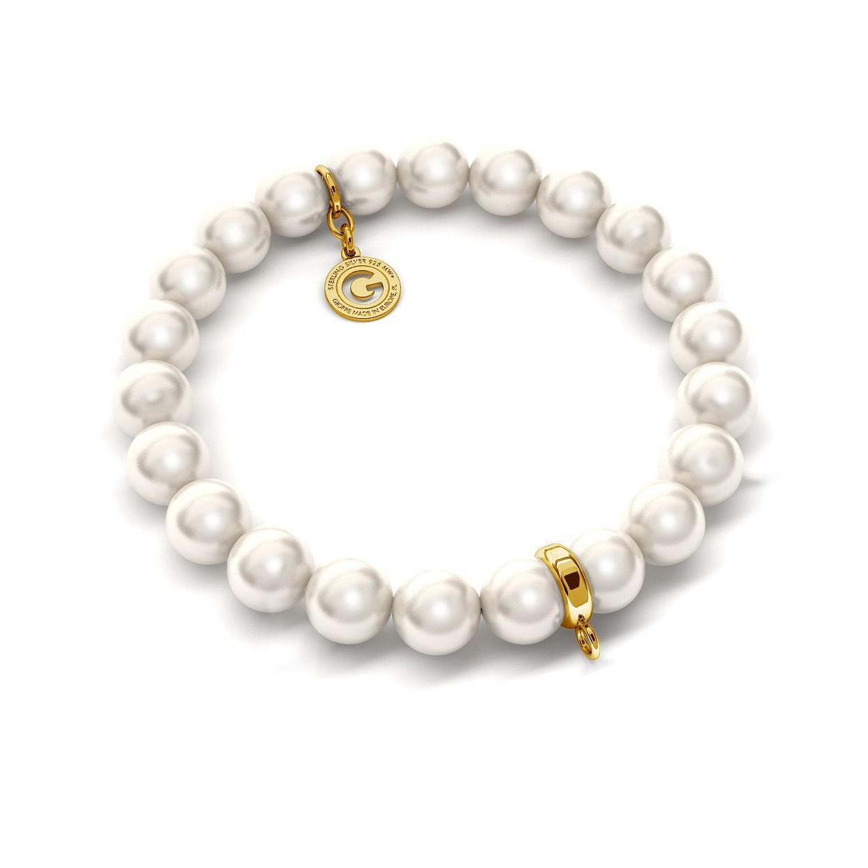 Elastyczna bransoletka z perłami Swarovskiego