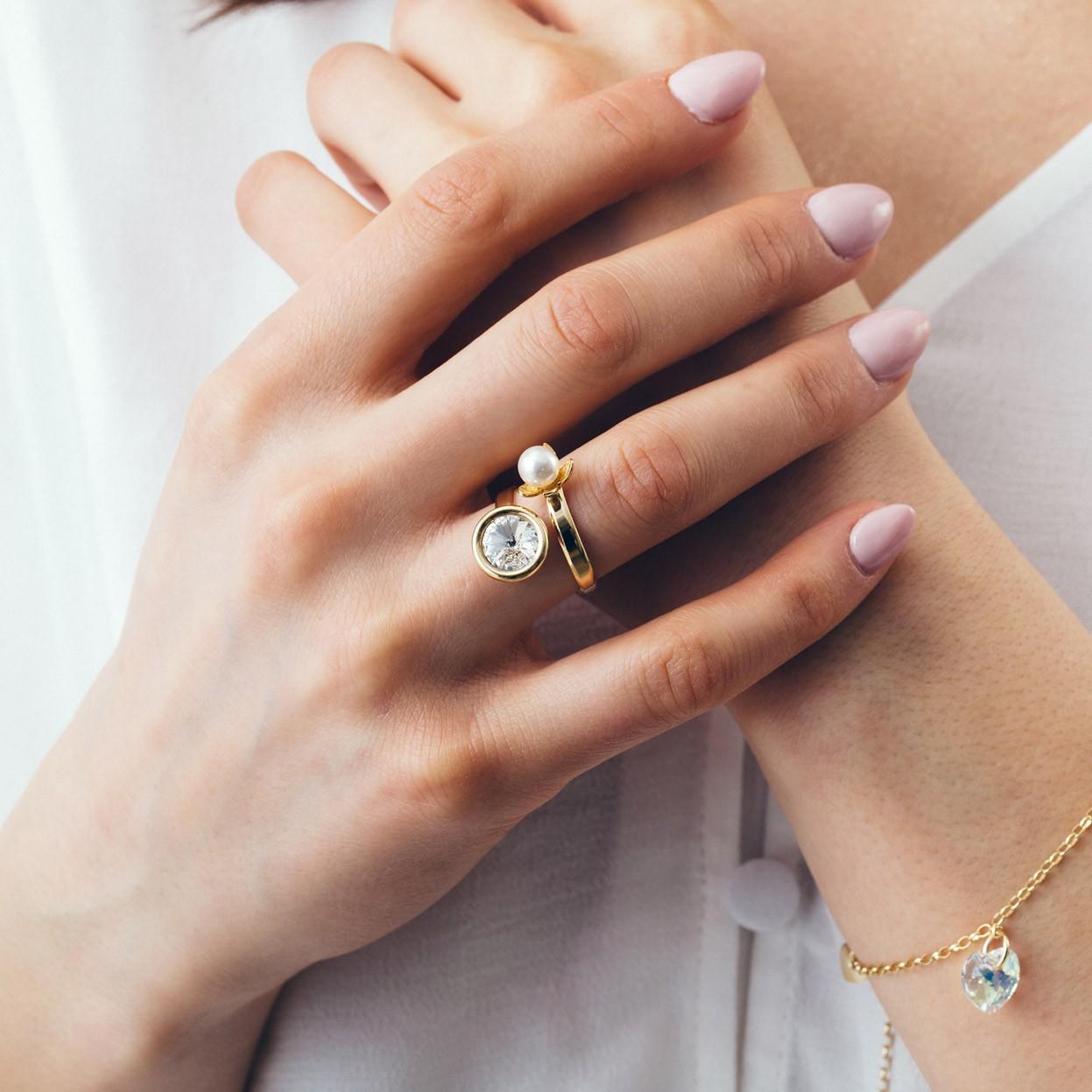 Srebrny pierścionek z perłą i kryształem, srebro 925