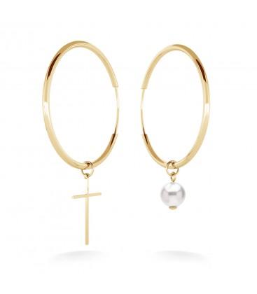 Asymetryczne kolczyki koła 4 cm z białą perłą Swarovski i krzyżykiem, srebro 925