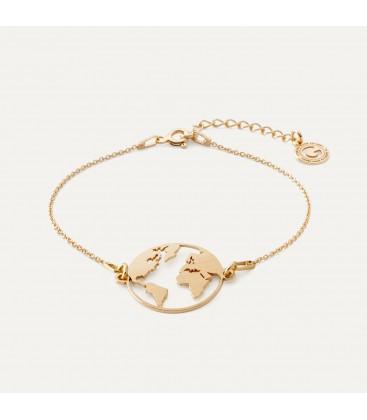 Carte du monde bracelet satin argent 925