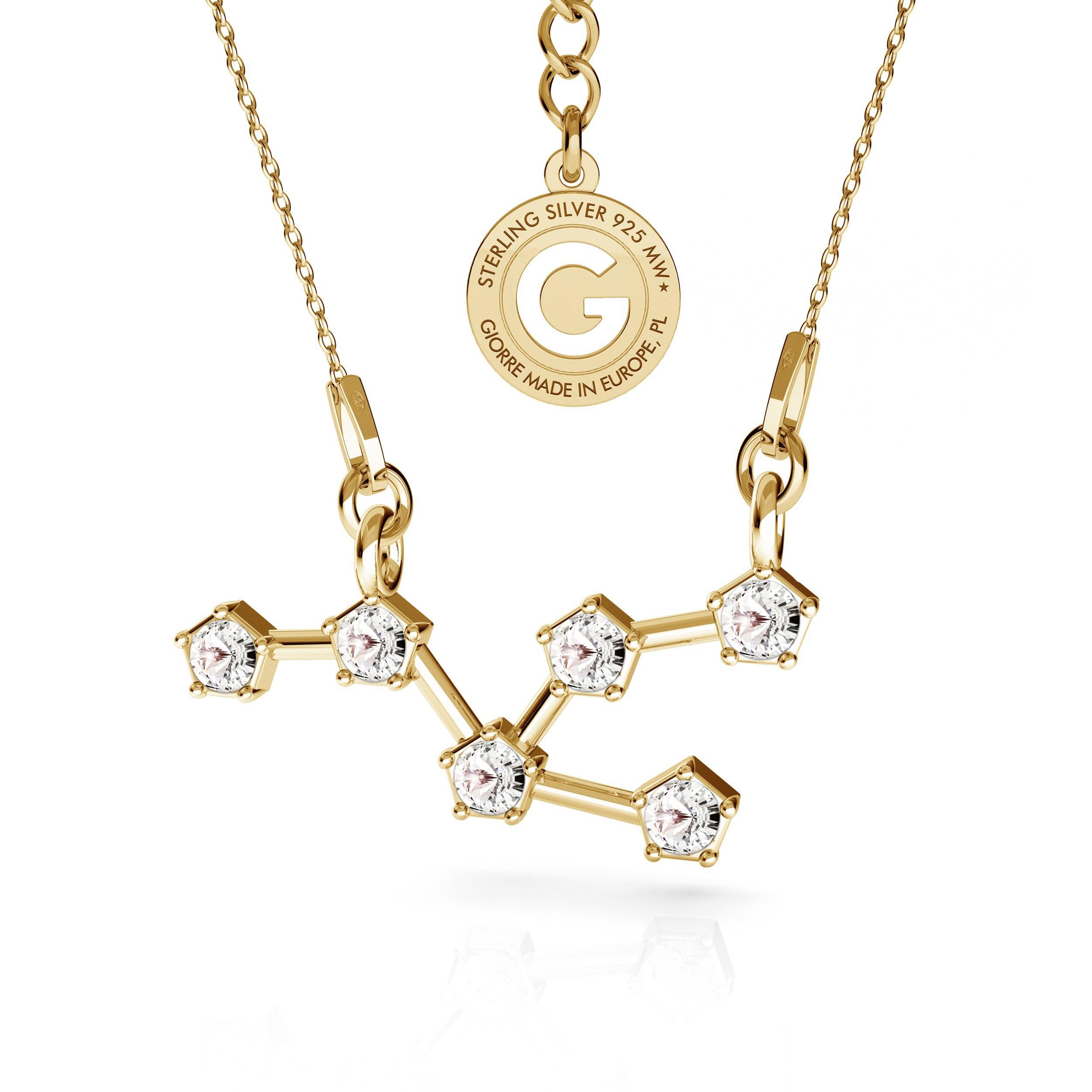 TAURUS zodiac sign necklace with Swarovski Crystals silver 925