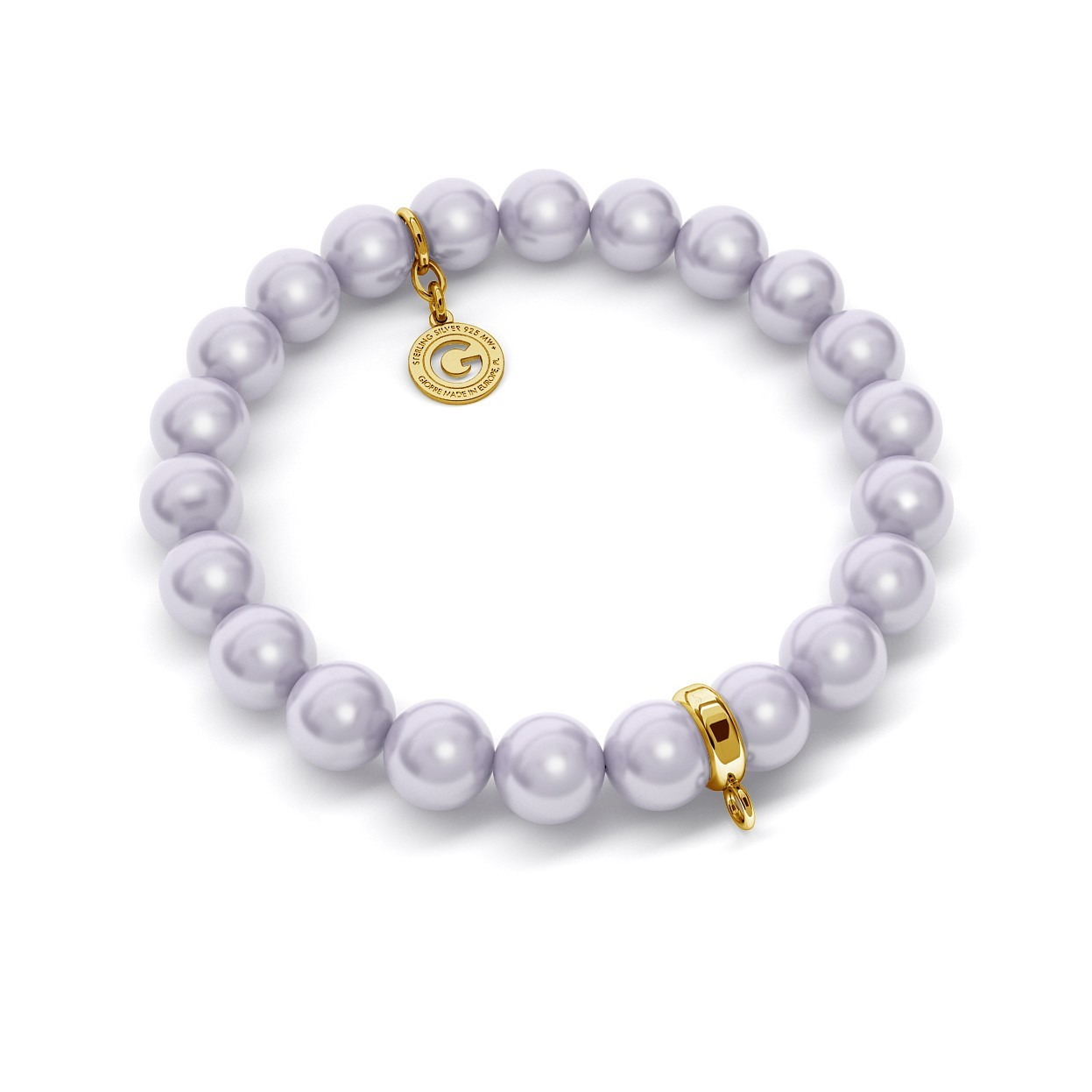 FLEXIBLE BRACELET WITH PEARLS (SWAROVSKI PEARL) FOR 1 CHARM, SILVER 925, RHODIUM OR GOLD PLATED