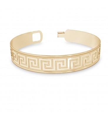 Damska szeroka bransoletka z greckim wzorem, srebro 925
