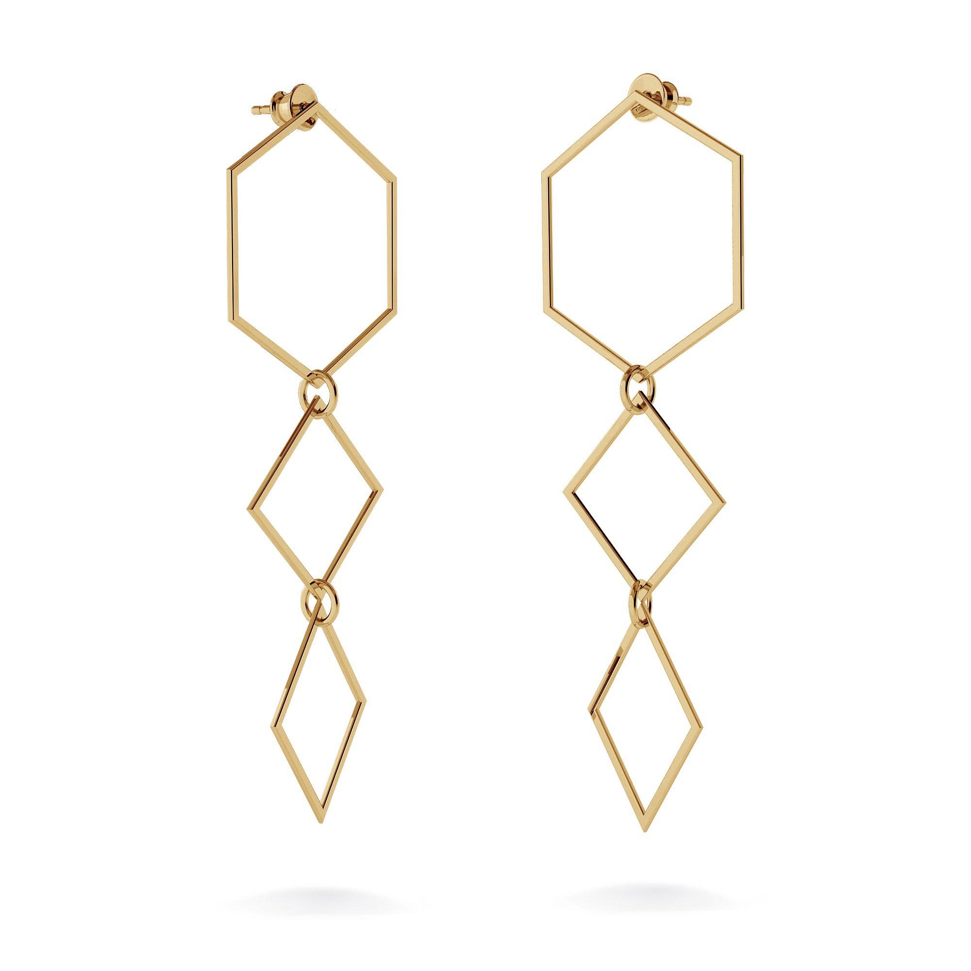 Long geometric earrings sterling silver 925
