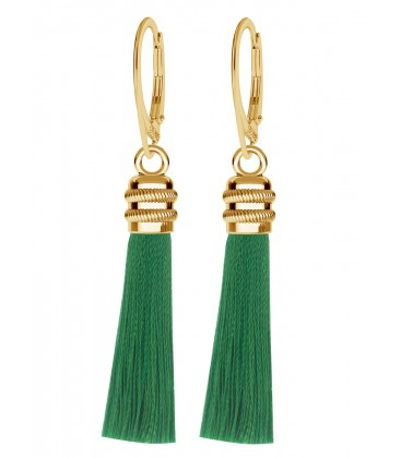 Green tassel earrings sterling silver 925