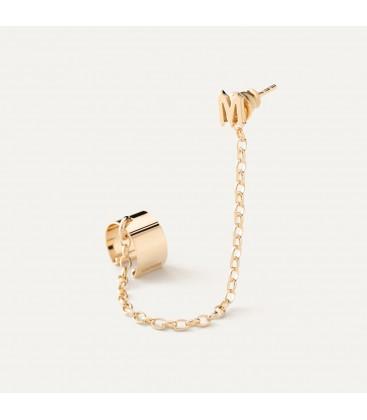 Pendiente brazalete de oreja con una letra, plata 92