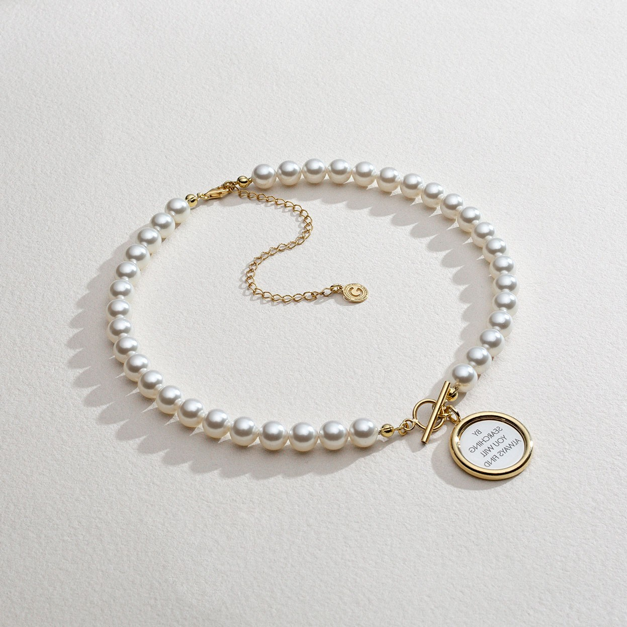 Perłowy choker z lustrem, Swarovski, srebro 925