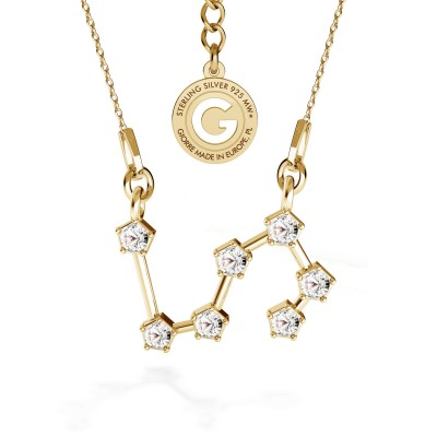 LION zodiac sign necklace with Swarovski Crystals silver 925