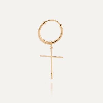 Srebrny kolczyk koło 1,7 cm z krzyżykiem 925