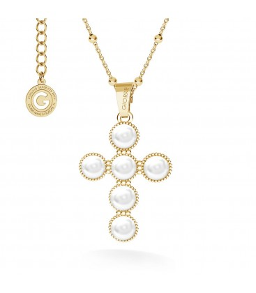 Naszyjnik krzyżyk z perłami, srebro 925 GAVBARI